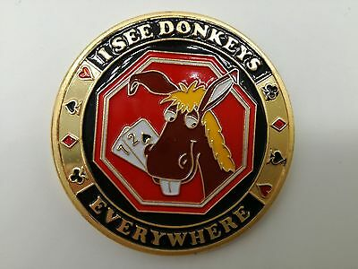 Golden I SEE DONKEYS EVERYWHERE Casino Poker Card Guard Cover Protector
