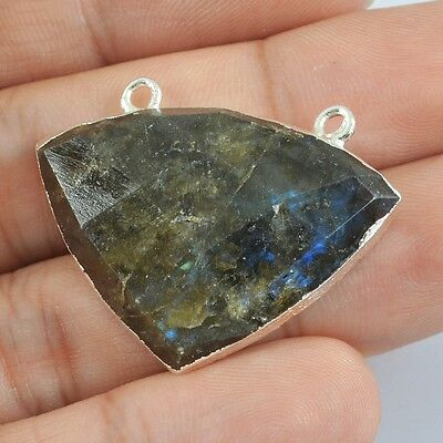 Natural Labradorite Faceted Connector Silver Plated B026690