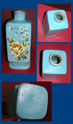 Victorian Blue Milk Glass Vase Hand Enameled & Fired W/ Raised Floral Design