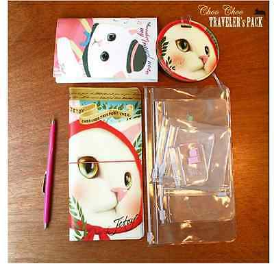 Korea Cute Jetoy Cat Travel Kit, passport holder, PVC Bags-*Red Scarf*