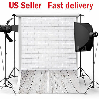 3x5FT White Brick Wall Floor Photography Backdrop Photo Background Studio Props