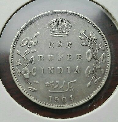 Edward VII One Rupee 1904 Large silver Coin VF