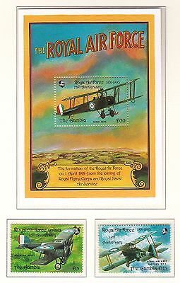 Gambia 1993 75th Anniv of RAF Pair and Sheet UM Cat £11