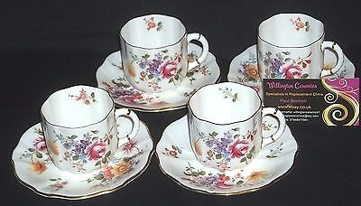 FOUR Royal Crown Derby 'DERBY POSIES' Coffee Cups and Saucers