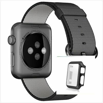 Black Woven Nylon Wrist Band Strap Bracelet Apple Watch 38mm Black Full Case