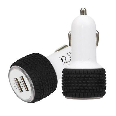 2.1A/1.0A Mini Wheel shape Dual 2 Port 12V USB Auto In Car Charger Adaptor