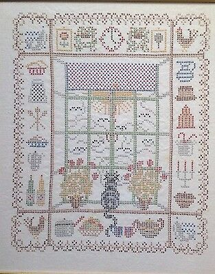 Vintage Sampler Embroidery Embroidered Picture Cat In Window Cross Stitch