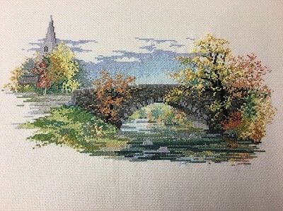 Completed Cross Stitch Old English Country Church Bridge Scene River