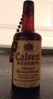 Vintage CALVERT Reserve Whiskey Key Chain Nickle Coint Holder Advertsing NEAT !!