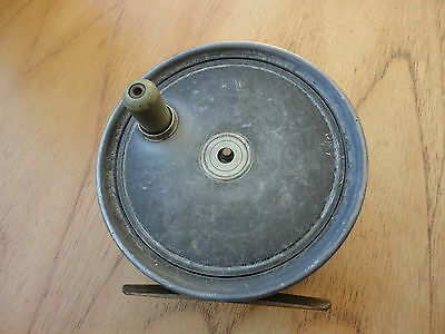 """Vintage Army And Navy 4 """"  Salmon Fly Reel With Silk Line - Very Good Condition"""