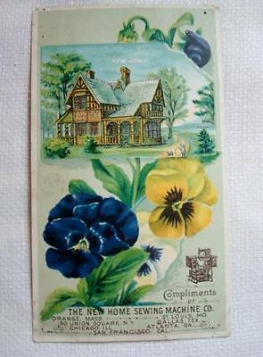 Victorian Trade Card Pansies House The New Home Sewing Machine