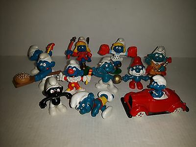 Smurfs Action Figures 11 Qnty Various