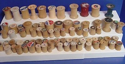 Lot of 77 Vintage Empty Wooden Wood Sewing Thread Spools Small and Large