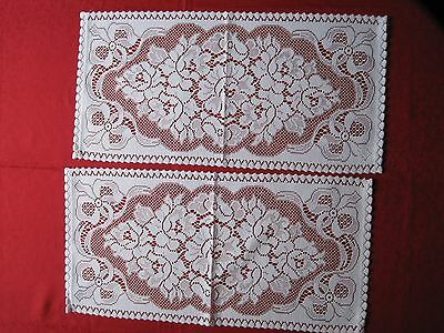 """TWO NOTTINGHAM LACE TABLE RUNNNERS.  12"""" WIDE  x  24"""" LONG. WHITE."""