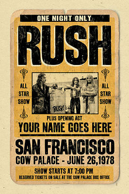your name on a RUSH concert poster! personalized gift - vintage look