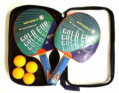 New in Case - ITTF Gold Cup 40mm Table Tennis Bat Set - Two Paddles & Four Balls