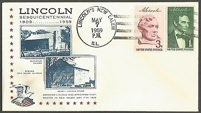 Us Cover 1959 Lincoln Sesquicentennial 1C&3C Made Postmaster In New Salem May 7