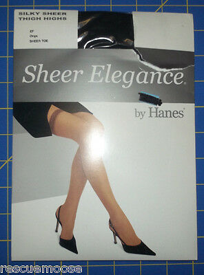 Hanes Sheer Elegance Silky Sheer Thigh-High Stockings, Onyx, Size EF