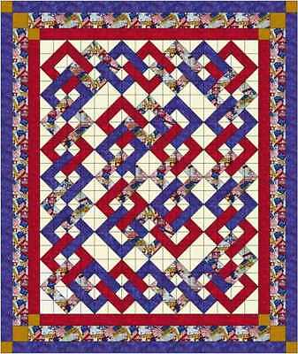 """Quilt Kit/Patriotic Woven Chain/Pre-cut Fabric Ready To Sew/Custom 76"""" X 90"""""""