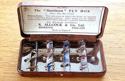 Rare Vintage Smithson Fly Box by S Allcock, No 9043 with a quantity of flies