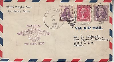 1938 NAMW NATIONAL AIR MAIL WEEK VAN HORN TX w 3 DIFFERENT STAMPS + CACHET