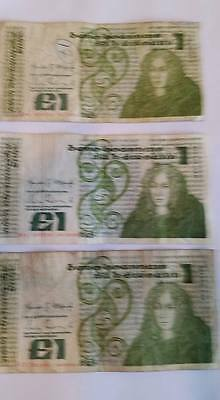 3 x Bank Ireland £1 note - Vintage Punt notes - All minted 1984 - Queen Meab