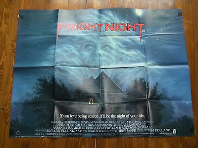 1980s UK QUAD FILM POSTER FRIGHT NIGHT CLASSIC HORROR MOVIE