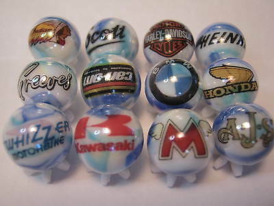 GEEVES INDIAN SCOTT HEINKEL WHIZZER ect. MOTORCYCLES MARBLES 5/8SIZE LOT +STANDS