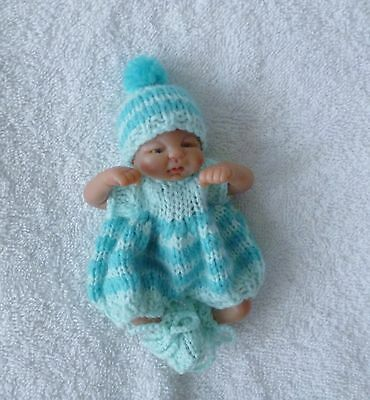 """Hand knitted dolls clothes to fit a 4.5"""" ooak"""