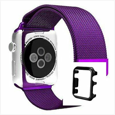 Black Case Milanese Purple Magnetic Stainless Steel Watch Strap Band Apple 42mm