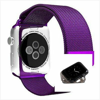 Milanese Purple Magnetic Stainless Steel Watch Strap Band Apple 42mm Clear Black