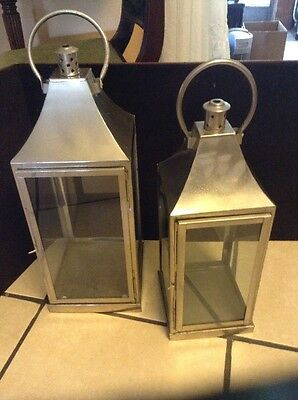 """Aluminium and glass set of 2 Candle lantern 21"""" & 23"""" Made In India"""