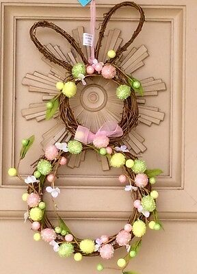 New Bunny Rabbit With Eggs And Flowers Hanging Door Decor Spring Easter Decor