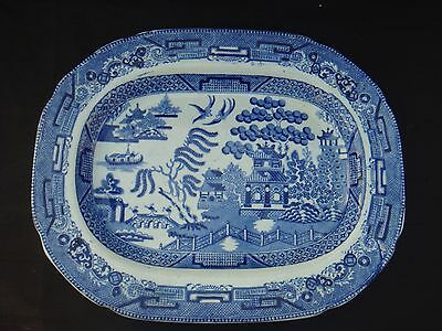 "19Th Cent Pountney & Allies Willow Pattern Platter Plate 12.5"" Blue And White"