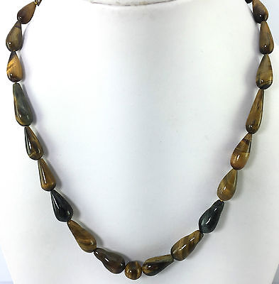 Ct 177.00 Natural Tiger Eye Drops Women's Necklace Gemstone Jewellery-