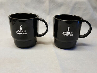 2 New Black Tupperware Coffee Cups Mugs Silver Taste Of Tupperware