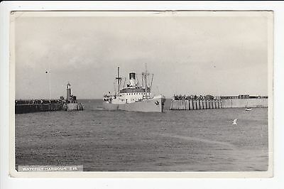 Somerset Watchet Harbour Steam Ship SS Ring entering Harbour Real Photo Postcard