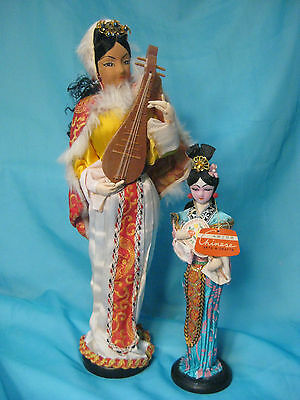"""Vintage Asian Dolls 14"""" and 10"""""""