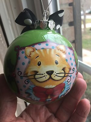 Two Round Glass Cat Ornaments