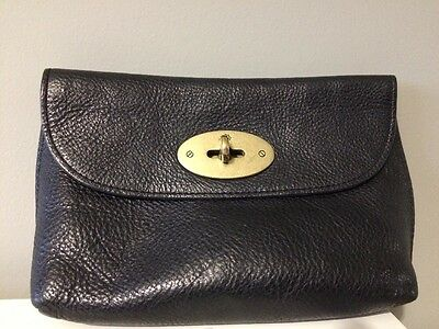 Mulberry Black Leather Cosmetic/Make up Bag/Purse With Postman's Lock