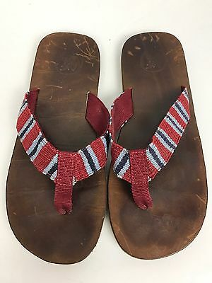 Men's Abercrombie And Fitch Red. Lie Stripe Leather Flip Flops Size 11