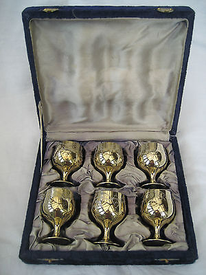 Cased Set Of Silver Plated Goblets.