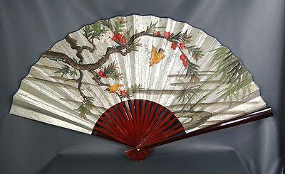 FINE ANTIQUE CHINESE CARVED BAMBOO HANDPAINTED BIRD Forest SCENE CALLIGRAPHY FAN