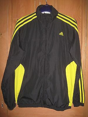 ADIDAS black/yellow tracksuit top age 13-14 years