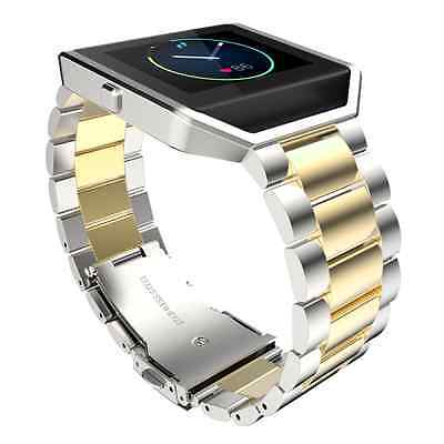 US Stailess Steel Bracelet Strap Watch Band For Fitbit Blaze Gold+Silver