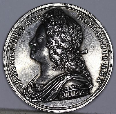 George II Official Silver Coronation Medal, 1727 by John Croker, aEF. Eimer 510