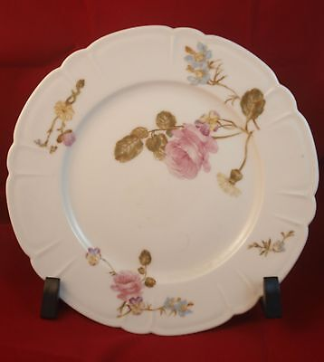 Antique Haviland & Cie Limoges Scalloped Plate Pink Blue & Yellow Flowers