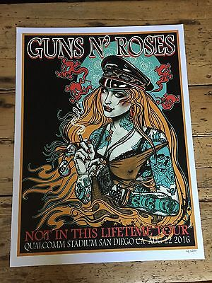 Guns N' Roses  Sold Out  Rocket Queen Lithograph San Diego August 22nd  2016
