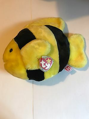 TY 1998 Beanie Buddy 'Bubbles' The Fish With Tag And Tag Protector