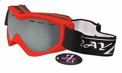 Rayzor Red Cat 3 Vented Anti Fog Ski Snowboard Goggles Smoke Mirrored Lens £69